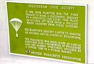 The plaque on the Bandstand in Montpellier Gardens, Cheltenham, commemorating John Hampton's parachute descent from a hot air balloon in 1838