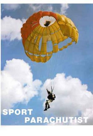 An issue of the BPA members' magazine Sport Parachutist from the 1970s, featuring an image of then National Champion John Meacock on the cover.