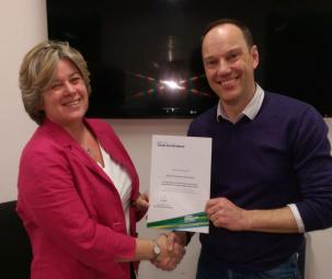 Amanda Bennett (Governance Adviser, Sport & Recreation Alliance) presents British Skydiving Chair Martin Soulsby with British Skydiving's sign-up certificate to the Voluntary Code of Good Governance on the day of the British Skydiving AGM, Saturday 24 January 2015