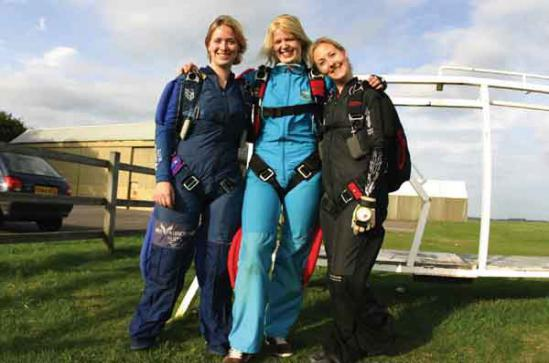 Liz Ashley, her sister Rose and Adele Marshall are all smiles after their jump.