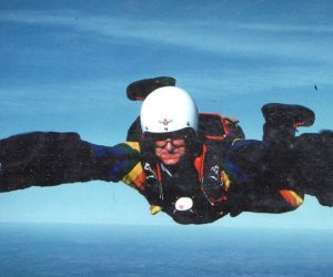 Dick in freefall on a normal parachute system for once. Photograph courtesy of Robin Lings