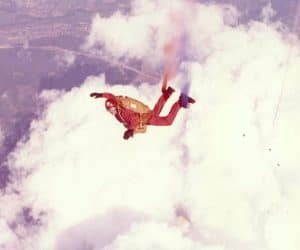 John in freefall with RAF Falcon Bob Souter