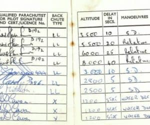 John's log book showing 27 jumps over 5 years