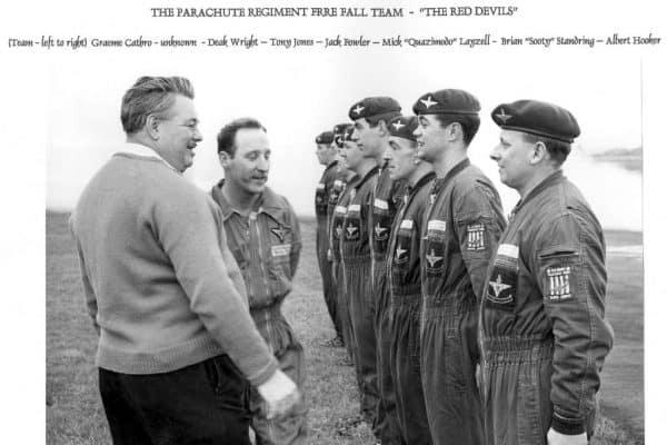 Official Opening Northern Parachute Centre January 1969. Graeme Cathro, ?, Deak Wright, Tony Jones, Jack Fowler, Mick Layzell, Brian Stanring, Albert Hooker