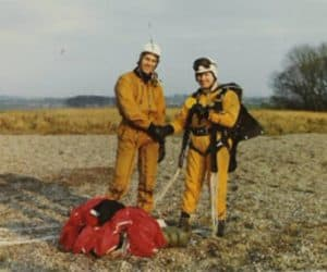Rob Noble-Nesbitt congratulating Biff Burn on a dead centre circa 1974