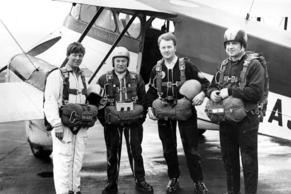 Also officiating at the Grand Opening was John Noakes, Blue Peter presenter and parachuting celebrity of the day, pictured here at the far left.
