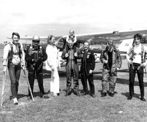 Rob Noble-Nesbitt, Colin Holt, Ingrid, Vic Pollitt, Kerry Noble, Geoff Mew, Pete Buckwell, circa 1970