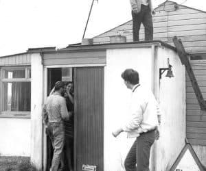 Aussie Power 1000th jump celebration. On roof, Alan Layton and Rob Noble-Nesbitt.