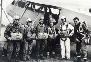 Bernard Green (on plane) and Martin Griffiths (2nd from right)